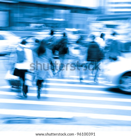 busy city pedestrian people crowd on  road abstract