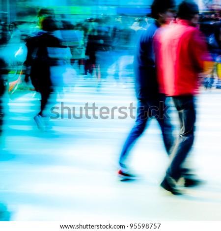 busy city pedestrian people crowd walk on road zebra crossing