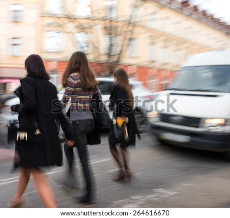 Busy city street people on zebra crossing. Intentional motion blur #264616670