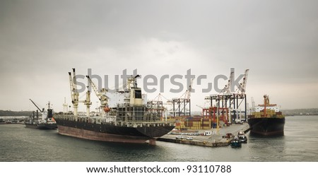 Busy container terminal vintage effect