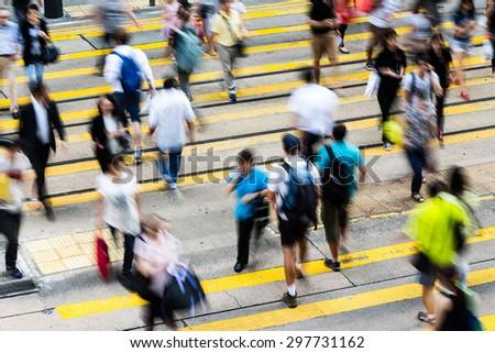 Busy Crossing Street in Hong Kong, China