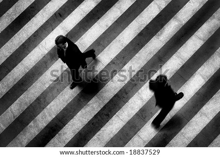 Busy crosswalk scene on the stripped floor