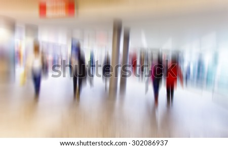Busy crowd of people walking in metro station, Business People Walking on the Street, blurred motion