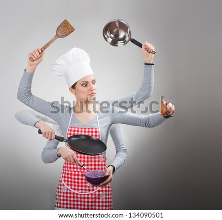Busy housewife concept with many hand on grey background Сток-фото ©
