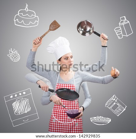 Busy housewife concept with many hands and with the drawn ingredients on grey background