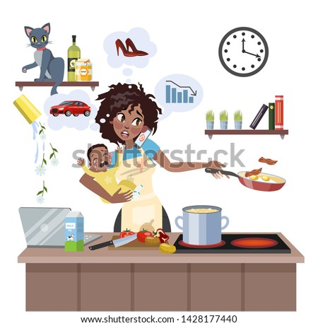 Busy multitasking african american mother with baby failed at doing many thing at once. Tired woman in stress with messy around. Housewife lifestyle. Isolated flat illustration Сток-фото ©