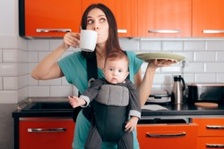 Busy Multitasking Mom with Baby, Coffee Mug and Dishes. Tired mother needing caffeine to do the household chores