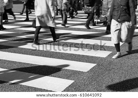 Busy pedestrian crossing at Tokyo (Black and White)