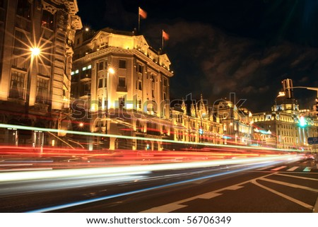 busy streets of shanghai (the bund) at night