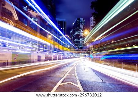 Busy traffic in Hong Kong city at night #296732012