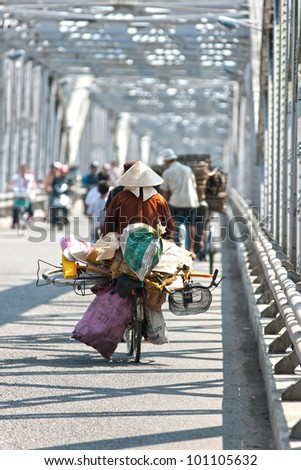 Busy traffic on a bridge, hanoi, Vietnam.