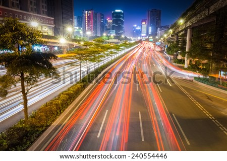 busy traffic on rush hour at night in guangzhou