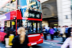 busy traffic scene with abstract motion blur in London, UK