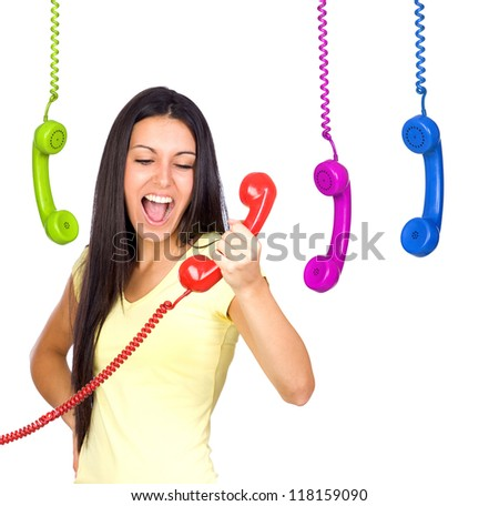Busy Woman Shouting a Red Phone Isolated on White