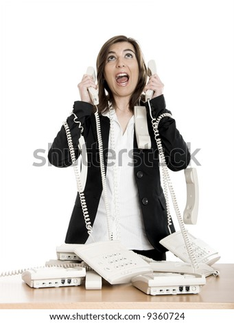 Busy woman working and answering a lot of calls at the same time