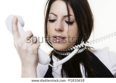 Busy woman working and tied up on the line