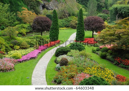 butchart garden in spring, victoria, british columbia, canada - stock photo