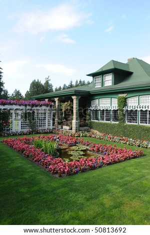 Butchart gardens buildings beside the italian garden for Garden shed victoria bc