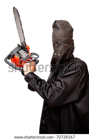 Butcher in the black leather mask is holding chainsaw. Isolated on white.