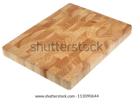 Butcher's block wood chopping board, new and without scratch marks.