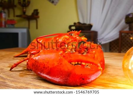 Butchering boiled lobster, cooked lobster, red lobster. #1546769705