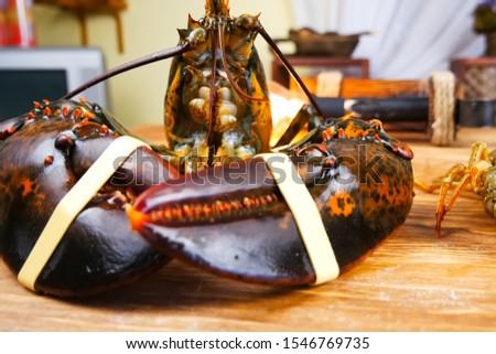 Butchering boiled lobster, cooked lobster, red lobster. #1546769735