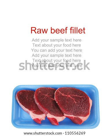 butchery : fresh raw beef lamb big fillet mignon ready to cooking on blue tray isolated over white background