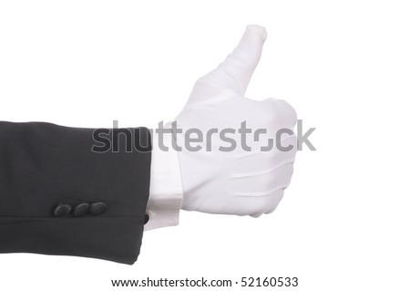 Butler's gloved hand making thumbs up gesture isolated over white. Hand and arm only in horizontal format.