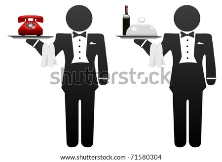 Butler, servant or room service waiter delivers food or phone on tray