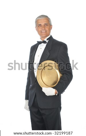 Butler Wearing Tuxedo Holding Tray under arm with White Gloved Hands isolated background
