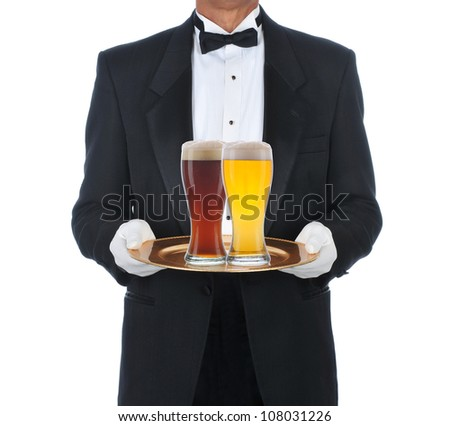 Butler Wearing Tuxedo Holding Tray with two full beer glasses. Square format isolated on a white background.