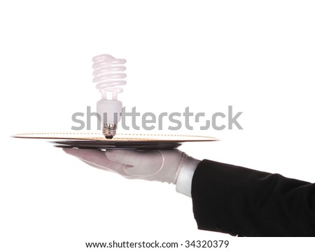 Butler with Compact fluorescent bulb on tray isolated on white