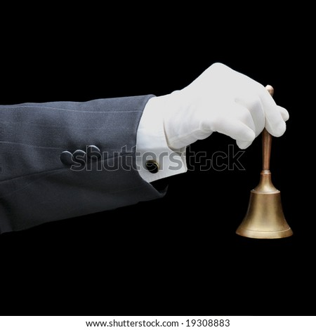Butlers arm with service bell isolated over black background