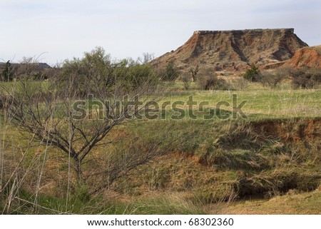 butte in the distance in northwest Oklahoma