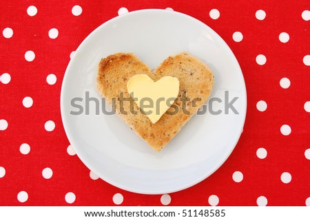 Butter and toast in a heart shape