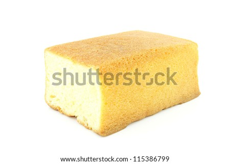 Butter cake on a white background