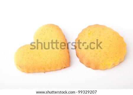Butter cookies, isolated over white background