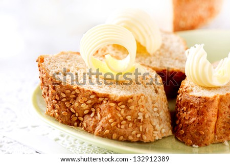 Butter on a Slice of Bread Butter Rolls Healthy Breakfast