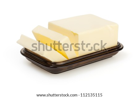 Butter on butter-dish on white background with clipping path