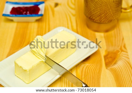 Butter on grey butterdish