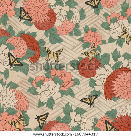 Butterflies and flowers in a vintage japanese woodblock print style Stock photo ©