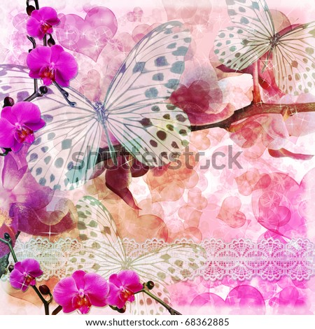 Butterflies and orchids flowers  pink background  with lace ( 1 of set)