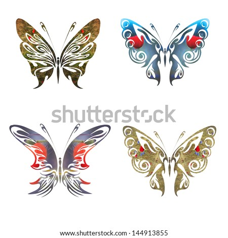 Butterflies covered with flowers as a concept for nature protection