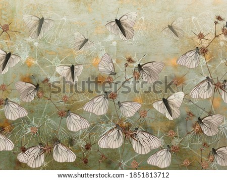 Butterflies on thorns painted on the grunge green wall. Beautiful design for postcard, card, picture, mural, wallpaper, photo wallpaper.