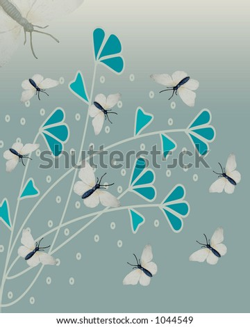 butterflies with fauna on sage illustrated