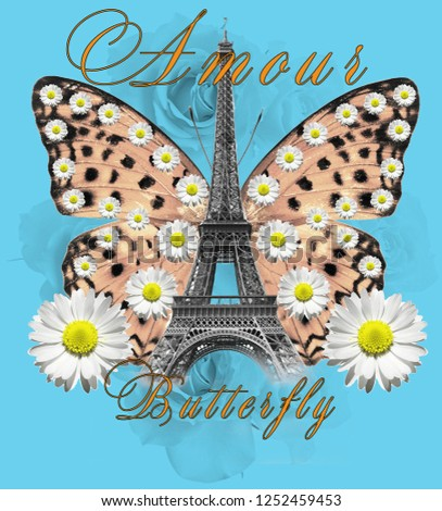 Butterfly amour nice daisy and rose background tshirt print