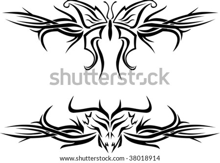 stock photo : Butterfly and evil skull tattoos with tribal designs