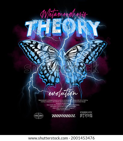 butterfly and strike lightning and clouds with metal typographic slogan print design