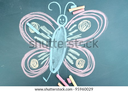 Butterfly, child\'s drawing with chalk