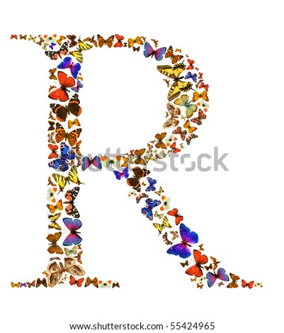 Butterfly font in white. Letter R